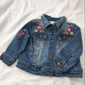 Little Me Toddler Jean Jacket With Flowers, 12M!